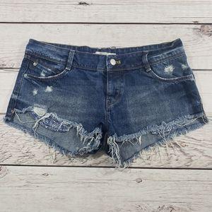 Zara Trafaluc womens distressed Jean shorts size 6